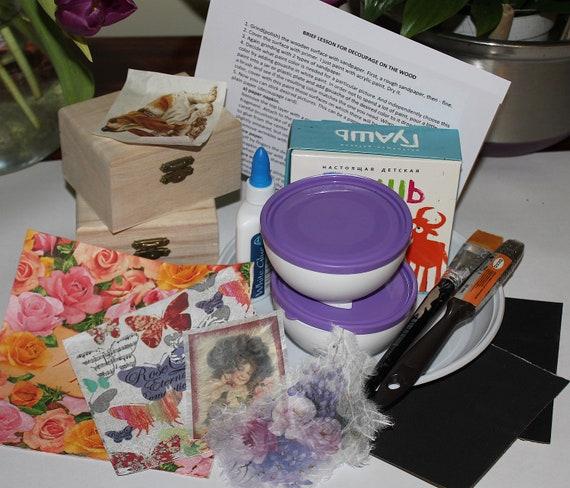 Kit for decoupage, decoupage for beginner, Decoupage lesson, Decoupage  start, set for needlework, set for creativity, craft