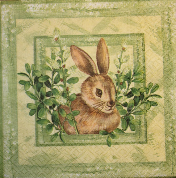4 Lunch Paper Napkins for Decoupage Party Table Vintage Easter Rabbits m
