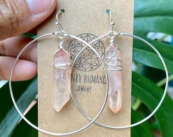Raw Crystal Hoop earrings, Crystal point hoop earrings, Angel Aura Earrings, Clear Quartz Crystal, boho hoop earrings, Rock Crystal earrings