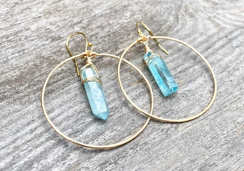 leaf hoops Raw crystal hoop earrings Crystal point hoop earrings boho hoop earrings teardrop hoops quartz earrings angel aura earrings