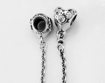937c04a23 Pandora Charms Safety Chain for Bracelet Disney Heart of Mickey Mouse  Sterling Silver S925 791704CZ Free Pandora Charm Box Included.