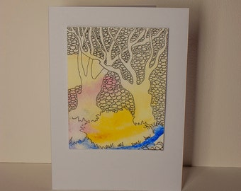 Summer Trees  Hand- Drawn Watercolour Greetings Card