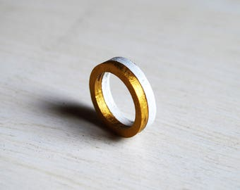 White and gold ring, minimalist rings, wooden rings, pair of white and gold rings White and gold ring, minimalist ring, modern ring