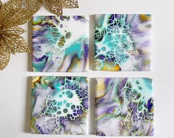 4 Handmade Painted Resin Coasters