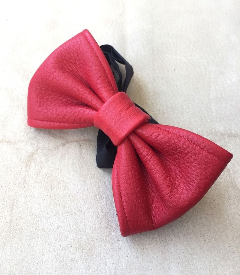 6462c242dabf Red Bowtie/Wedding/bowties/Formal/Casual wear/Leather bow   Etsy