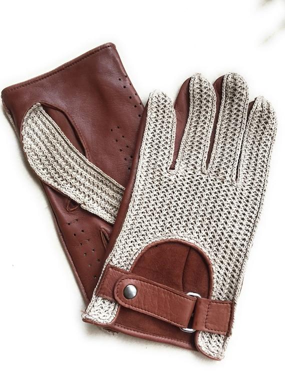 Men/'s Crochet Driving Leather Gloves