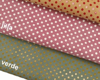 Italian leather suede with polka dots laminated print super soft ST vintage-sporty look La Garzarara in three combinations  B10608-MT