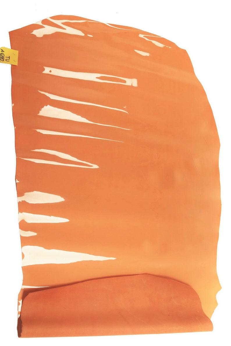 Italian leather size 22x43 inches salmon pink patent half calf hide stiff skin    A6882-TU   La Garzarara high thickness 1.21.3 mm