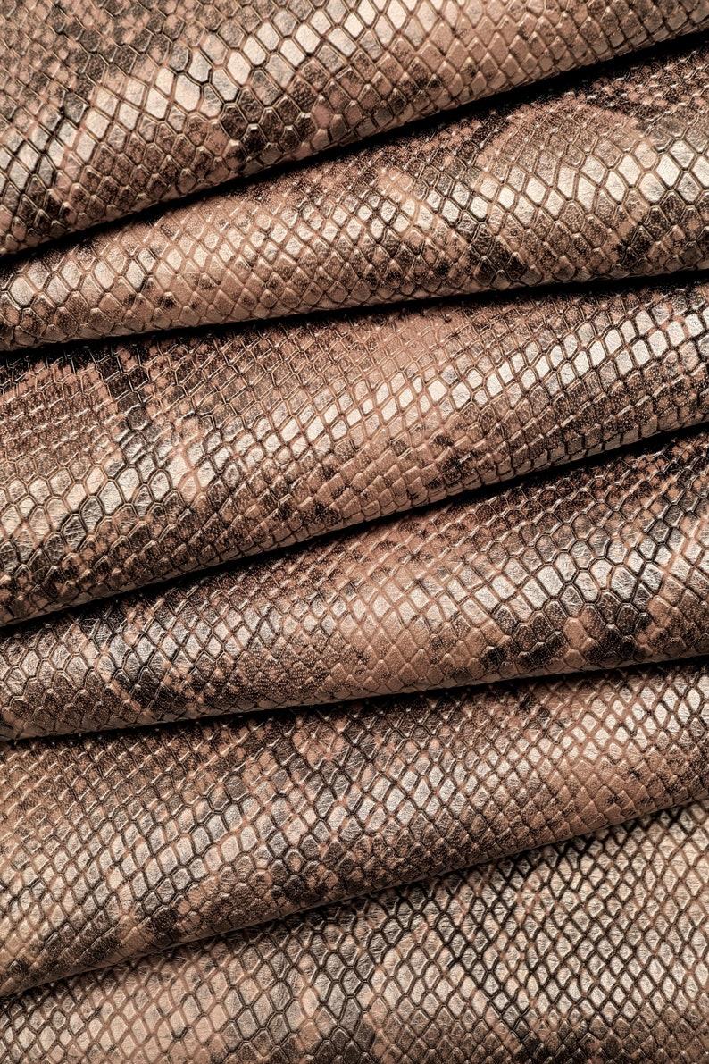 soft skin    A7001-ST La Garzarara printed python rock effect bicolor dusty roseblack with a light pearl effect hides Italian leather