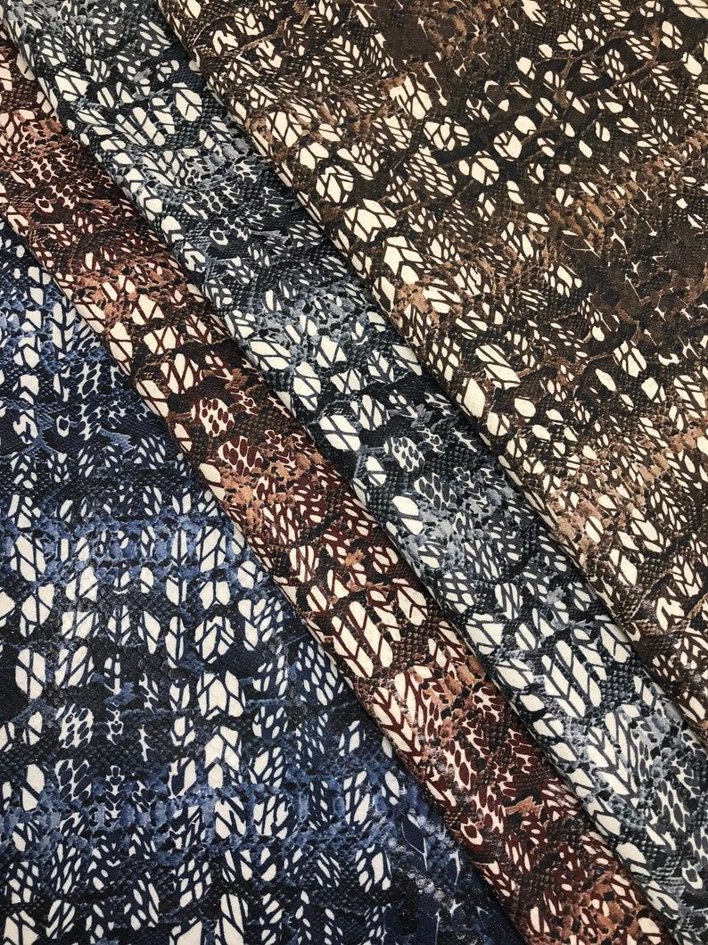 printed python and printed optical glitter effect tone on tone hides in four color variants   A3870-ST  La Garzarara Italian leather