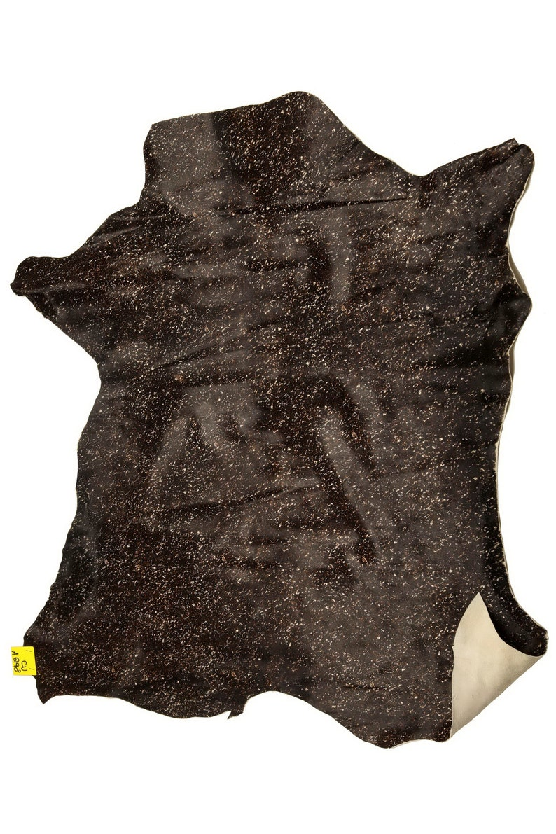 size 65 x 75 cm    A6198-CV La Garzarara Italian leather hairy cowhide with a spatter effect print in dark brown and creamy-white colors