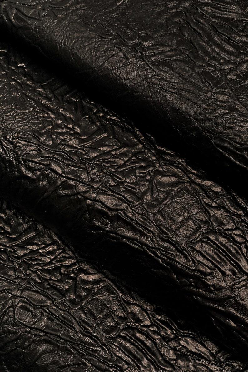 f7f1b9fe7bbd Italian leather crumpled parchment effect shiny black kid