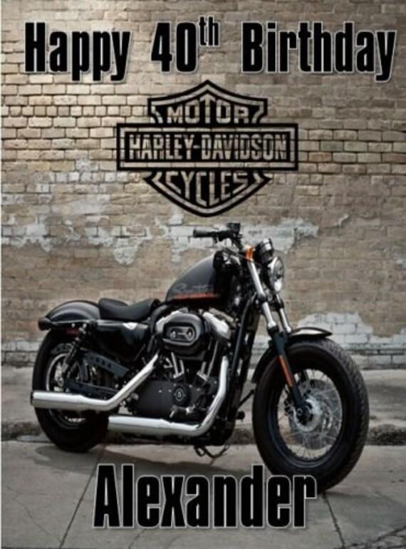 Personalised Harley Davidson Birthday Card Any Name Age