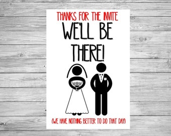 Wedding Invite RSVP Reply Acceptance funny humour free postage