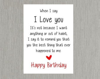 Birthday Card romantic love Wife/Husband/Boyfriend/Girlfriend