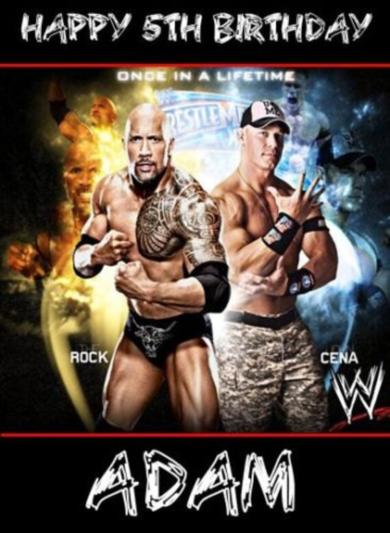 Items Similar To Wwe Wrestling Cena Rock Personalised Birthday Card