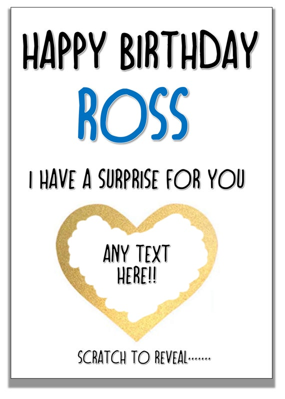 Scratch off birthday surprise reveal card personalised for birthday free postage