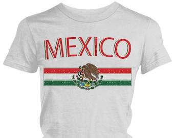 1fdde8c6b14 Distressed Mexico Country Flag Crest Ladies Juniors T-Shirt