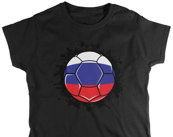 bdb16b2d Russia Paint Splatter Flag Soccer Ball Ladie's T-Shirt, Russian Flag,  Russian Federation, Women's Russia Shirts AMD_2121