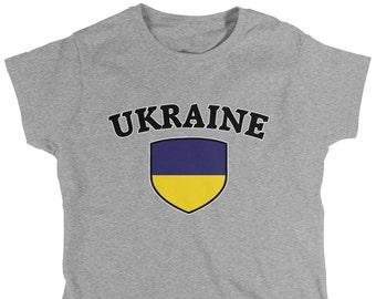 Ukraine Country Crest Ladies T-Shirt 7e6040dda
