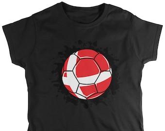 Denmark Paint Splatter Flag Soccer Ball Ladie s T-Shirt 1b982eda3
