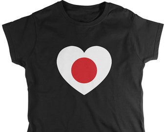Japanese Country Flag Heart Ladie's T-Shirt, Japan Flag, Pride, Nationality, Women's Japan Shirts AMD_1603