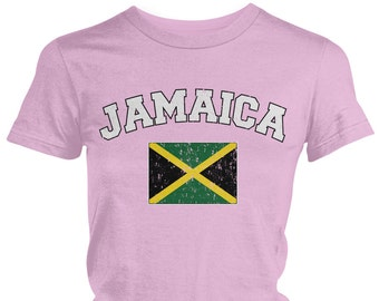 Distressed Jamaica Ladies Juniors T-Shirt, Jamaican Pride, Soccer, Kingston, Ladies Juniors Jamaica Soccer Shirts AMD_JAM_02