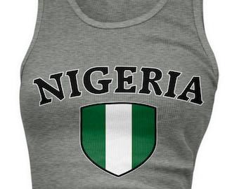 Nigeria Flag Crest Ladies Juniors Tank Top d2f06573e
