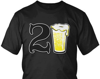 21st Birthday Beer Glass Mens T Shirt Partying Great Gift Funny Humor Drinking Shirts AMD 2015