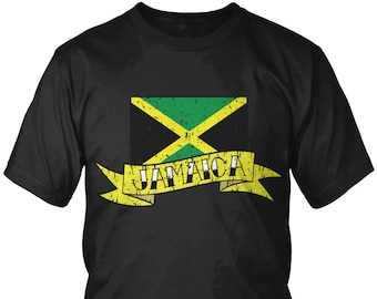 Distressed Jamaica Banner Country Flag Men's T-Shirt, Jamaican Pride, Kingston, Nationality, Men's Jamaica Shirts AMD_JAM_07
