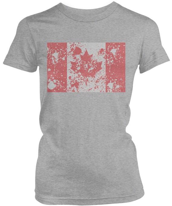 Paint Splatter Canada Flag Ladies Juniors T-Shirt Canadian  65910b020