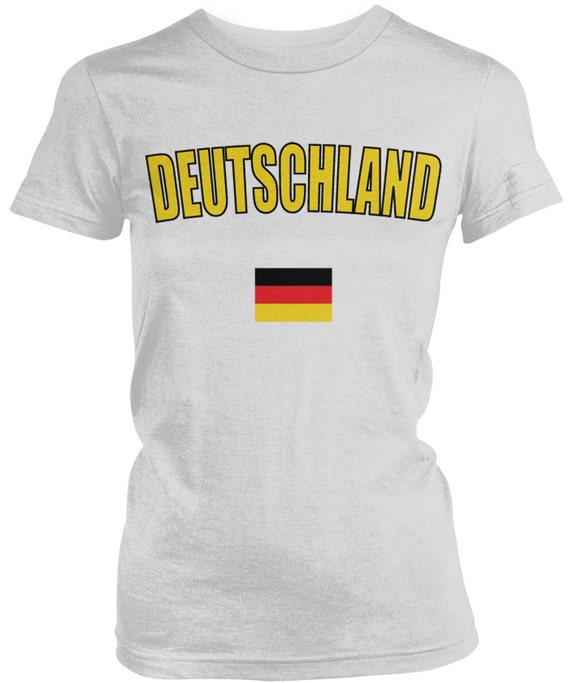 815374ee0 Bold Deutschland Flag Ladies Juniors T-Shirt German Flag