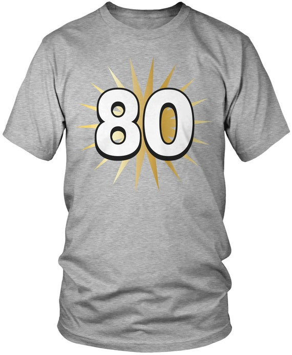 Gold Star 80th Birthday Mens T Shirt Party