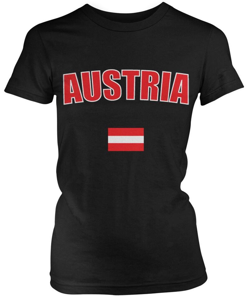 cb5c3a8b243 Austria Country Flag Ladies Juniors T-Shirt Austrian Pride | Etsy