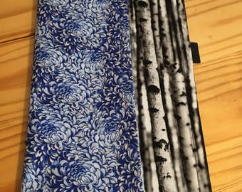 Japanese Floral on Sea of trees fabric EDC Hanky Pocket Square