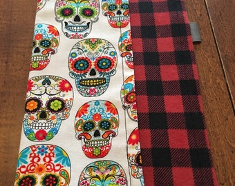 Sugar Skulls EDC Hanky Pocket Square on red/black flannel