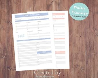 6 Farben Druckbarer Tagesplaner PDF // Kalender Daily Planner PRINTABLE planner pages - Day Organizer // A4 Daily Planner // student planner