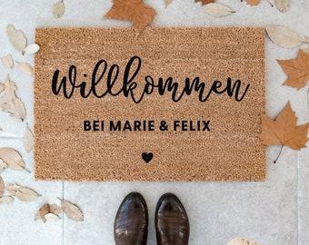 Personalized Indoor Coconut Doormat 'Clothesline' Heart | Indoor mat gift for moving in | Wedding gift | Doormat