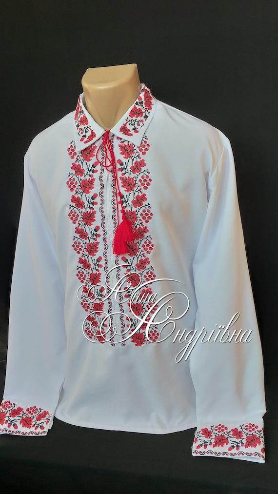 VYSHYVANKA Man Ukrainian Embroidered LINEN White Blue SHIRT XL GIFT FOR HIM