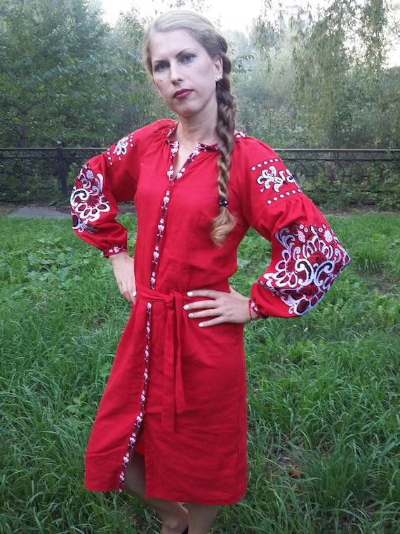 b958dde046c Embroidered Dress Vyshyvanka dress Linen Ukrainian embroidery