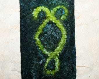 Hand felted pouch / case Nephilim
