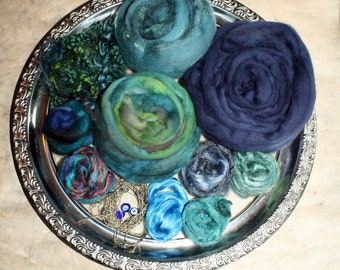 127 gr material - Package wool / silk - Deep Ocean - for spinning Art Yarns and felting and many other creative projects