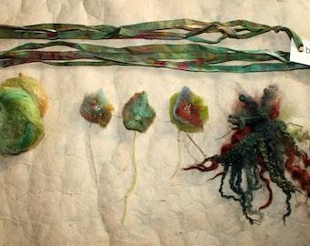 Set for art yarn-flowers-silk-curls