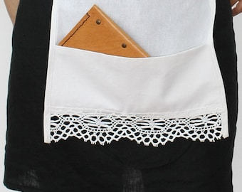 Linen Apron / Handmade Linen Cafe Apron / Kitchen Apron / Apron with Pocket