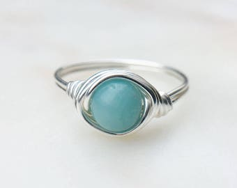 Amazonite Ring, Blue gemstone ring, Wire Wrapped ring, Sterling silver ring, Blue stone ring, Statement ring, Boho ring, Gift
