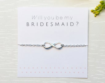 Will You Be My Bridesmaid Bracelet, Infinity Bracelet, Bridesmaid Gift, Sterling silver bracelet, Bridal party, Wedding bracelet, Gift