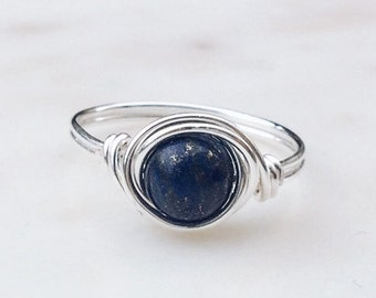 Lapis Lazuli Ring, Wire wrapped ring, Blue stone ring, Sterling Silver ring, Blue gemstone ring, Natural Stone ring, Wire ring, Gift