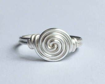 Circle Sterling Silver Ring, Spiral ring, Wire ring, Round ring, Swirl ring, Sterling silver ring, Statement ring, Silver ring, Gift