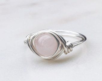 Rose Quartz Ring, Gemstone Ring, Sterling silver ring, Wire wrapped ring, Quartz ring, Crystal ring, Pink stone ring, Pink ring, Healing
