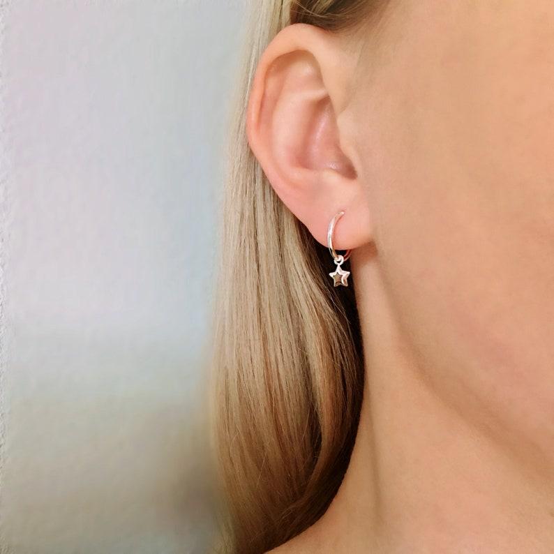 cb5e3a79d40c Star Hoops Sterling Silver Small hoops Star earrings Star | Etsy